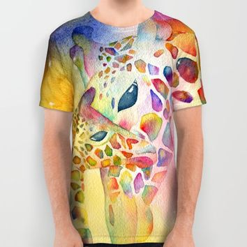 Rainbow Giraffe All Over Print Shirt by Miss L In Art