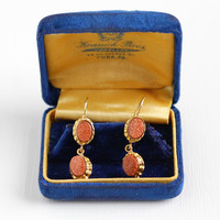 Antique Victorian 18k Yellow Gold Goldstone Earrings - Vintage Late 1800s Vintage Pierced Dangle Fine Aventurine Glass Jewelry
