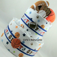 Boy diaper cake | Sports diaper cake | Baby shower gift | Baby Shower Decoration | New mom gift | Baby Diaper Cake | Baby Boy Gift