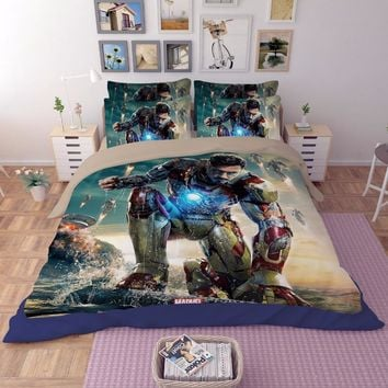 Iron Man Film 3D printing bedding set bedspread bed sheets cartoon Children's Adult duvet covers single full queen king size