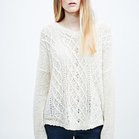 BDG V-Neck Cable Jumper in Ivory - Urban Outfitters