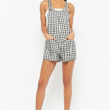 Gingham Buckle-Strap Overalls