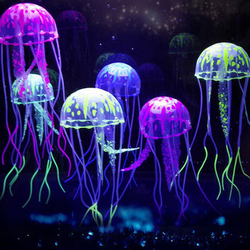 Arciton Glowing Effect Artificial Jellyfish Ornament for Fish Tank Aquarium DecorationSafe For FishInstant Suction Cup Installation(Set of 6)