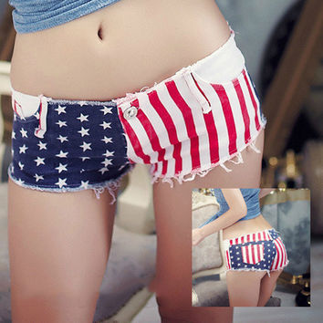 Sexy American Flag Low-waist Denim Shorts