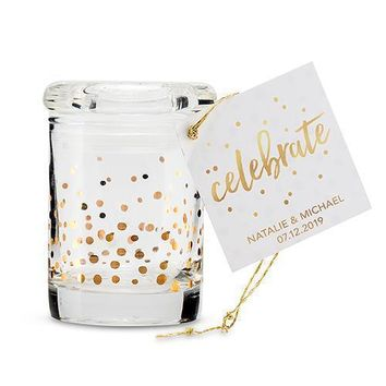 Gold Foil Confetti Mini Glass Favor Jar with Lid (Pack of 6)