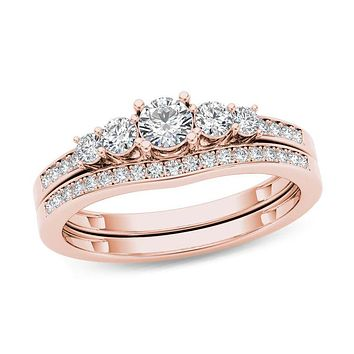 1/2 CT. T.W. Diamond Five Stone Bridal Engagement Ring Set in 14K Rose Gold