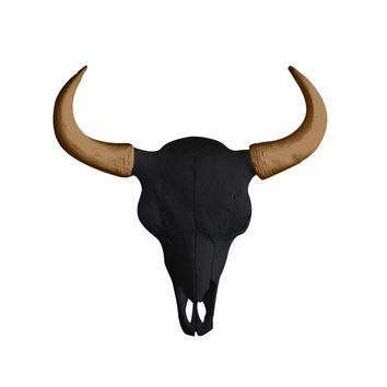 The Mini Yellowstone Skull | Buffalo Bison Skull | Faux Taxidermy | Black + Bronze Horns Resin