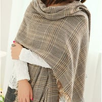 Brown Plaid Fringed Long Scarf