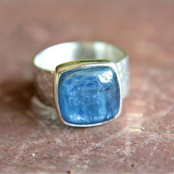 Crystal Kyanite Ring Sterling Silver Blue Cushion Square Ring Size 6 3/4 Cyanite Silversmithed Metalsmithed