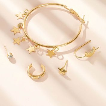Star Charm Mismatched Oversized Earrings 5pcs