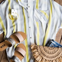Oversize Button Down Stripe Shirt, Lime/Ivory