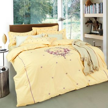 Svetanya yellow Embroidered  Luxury Bed Linens Queen King Size Bedclothes 100% Cotton  Bedding Sets