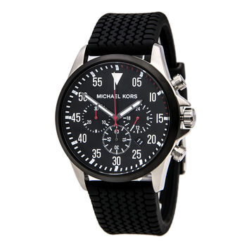 Michael Kors MK8334 Men's Black Dial Black Tire-Tread Gage Strap Chronograph Watch