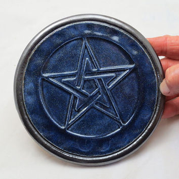RAKU Pentagram Altar Tile Handmade Pottery Royal Blue Sparkle