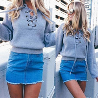 Women Autumn Winter Sweater Bandage Sweatshirt Blouses Ladies Tops Gift-01