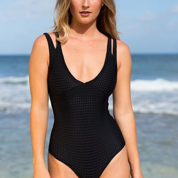 ACACIA Swimwear 2019 Kapunas Mesh One Piece in Ebony