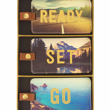 Ready Set Go - Set of 3 Photographic Luggage Tags in Gift Box