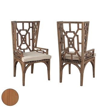 Teak Wing Back Chair In Euro Teak Oil