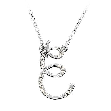 1/10 Ctw Diamond 14k White Gold Medium Script Initial E Necklace, 17in