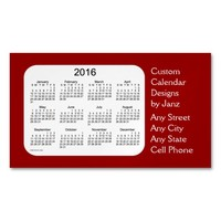 2016 Maroon Business Calendar by Janz Magnet Magnetic Business Cards (Pack Of 25)