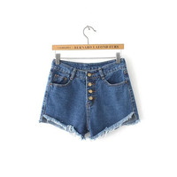 Women's Fashion Summer Rinsed Denim Slim Stylish Denim Shorts [6034178625]