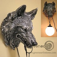Green Earth Stores | 00201282954 - Growling Wolf Wall Lamp