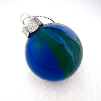 Glass Ornament Hand Painted Inside Earth Colors by creationsbyjdb