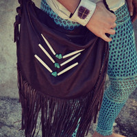 XMAS IN JULY Gypsy Traveler Boho Bag /// Coffee Bean /// Large Recycled Leather Fringe Tote Tribal Bag /// Made to Order