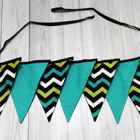 7 pennant Flag banner, Chevron with teal, black white, green. Room Decor, Birthday, Baby Shower, Wedding. Photo Prop.