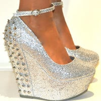 LADIES SILVER STUDDED GLITTERY WEDGE HIGH HEELS ANKLE STRAPPY SHOE SANDAL PARTY