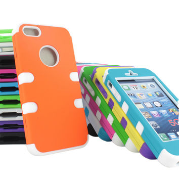 For Apple iPhone 5 Hybrid Hard&Silicone Impact Phone Cover Case+Screen Protector
