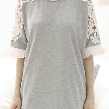 Gray Floral Crochet Insert Flare Sleeve Bow Accent Top