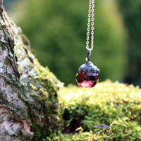 faceted crystal summer pendant purple violet ball transparent clear ball sphere vintage retro rustic beadwork statement pendant necklace