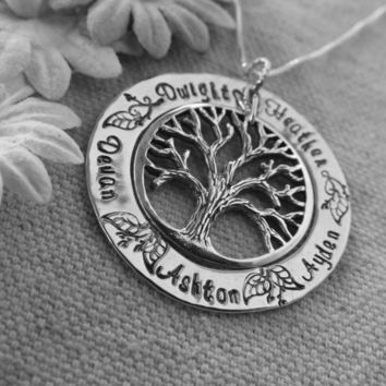 Hand Stamped Mommy Necklace - Personalized Jewelry - Sterling Silver Family Tree Pendant - washer - My Family tree of life,bronze