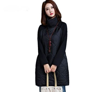 2018 Autumn Spring Women Loose Dress Turtleneck Long Sleeve A-Line Vestidos Plus Size Black Warm Autumn Loose Women Dress Tunic