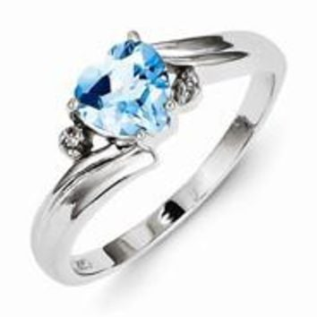 Sterling Silver w/Rhodium Plated Diamond and Light Swiss Blue Topaz Heart Ring