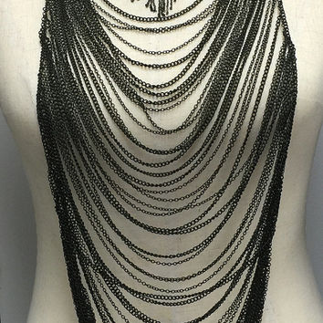 Black Vintage Chainmaille Necklace with Antique Silver Pin with Red Crystal and Long Chain Fringes OOAK Handmade Statement Jewelry for Women