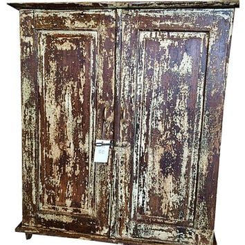 Antique Storage Chest Distressed Brown Rustic Cabinet Indian Furniture
