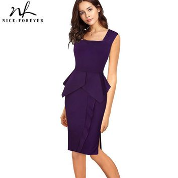 Nice-forever Vintage Elegant Solid Color Wear to Work Ruffle vestidos Business Party Bodycon Sheath Women Office Work Dress B446