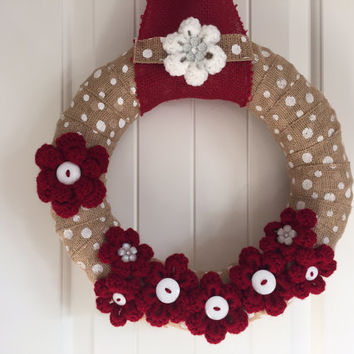 Winter/Christmas wreath, winter home decor, shabby chic Christmas wreath, shabby chic winter wreath, yarn and burlap wreath
