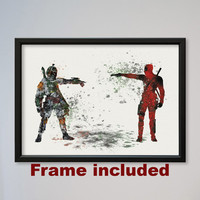 Star Wars Deadpool vs Boba Fett Bounty Hunter Poster Watercolor Print Wall Decor Fine Art Movie Home Wall Hanging Star Wars Fans gift FRAMED
