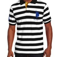 U.S. Polo Assn. Men's Medium-Stripe Pique Polo Shirt