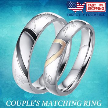 "Couple's ""Real Love"" Matching Heart Ring His and Hers Stainless Steel Wedding Band for Mens Womens, Comfort Fit"