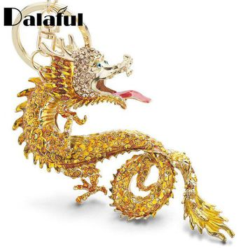 ac spbest Dalaful Animal Enamel Big Dragon Keychains Keyrings Crystal Animal Dinosaur Bag Pendant Gift Car Key Chain Ring Holder K349