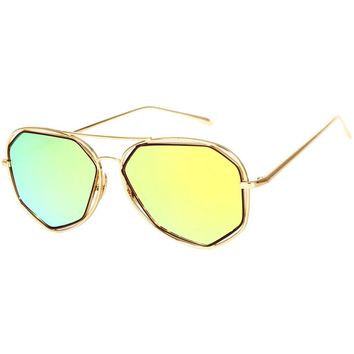 SojoS Aviator Sunglasses Metal Frame Flat Mirrored Lens SJ1004