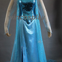 New arrival!!! Disney Frozen-- Elsa Cosplay Costume princess dress movie cosplay adult kids size