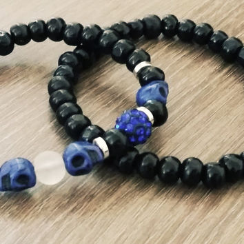 Men's Bracelet-Blue skull frosted glass wood Beaded bracelet- Man Jewelry