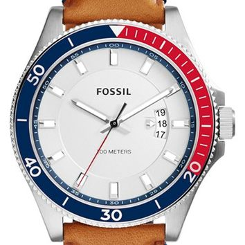 Men's Fossil 'Wakefield' Perforated Leather Strap Watch, 45mm