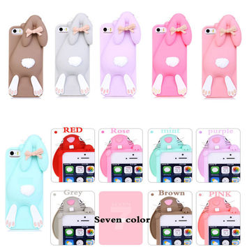 "Cartoon 3D Soft Cute Silicone Rabbit Bunny Case For iPhone 7 5 5S SE 4 4S 6 6S 7 Plus 4.7"" 5.5"" Lovely Rabito Phone Back Cover"