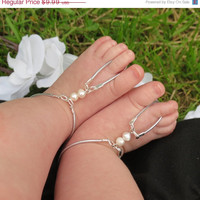 Sized Pair Wedding Baby Barefoot Sandals, Girls, Barefoot Sandles, Barefoot, Sandals, Foot Jewelry, Anklet, Pearl, Elastic, Silver, Stretchy